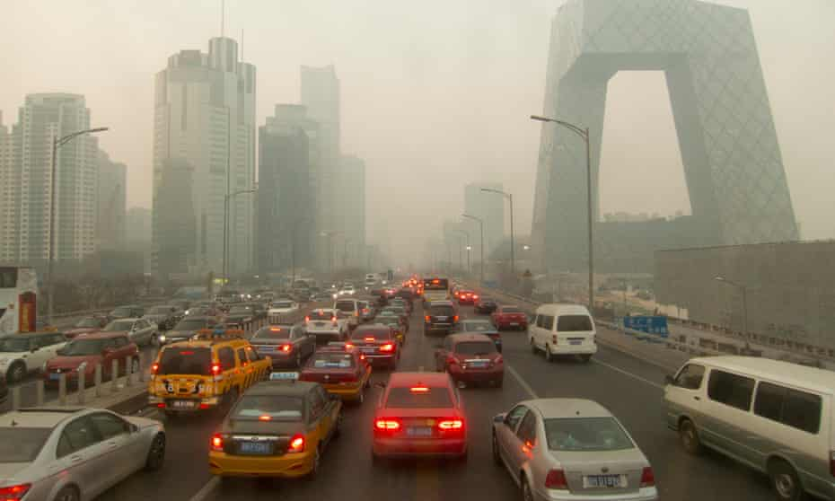 A traffic jam in Beijing, China,