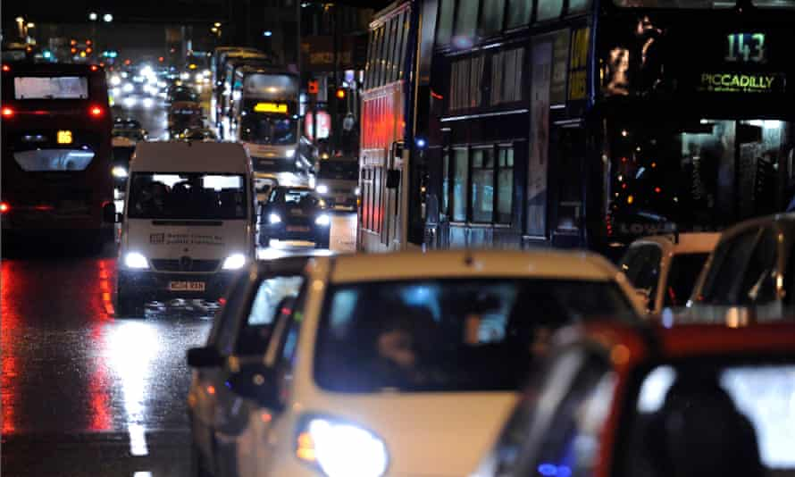 Traffic in Manchester city centre.