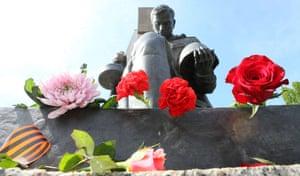 Flowers at the Soviet war memorial in Treptower Park in Berlin