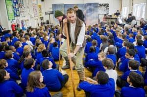 English Touring Opera's Matt Ward, Jan Capinski and Michael Butchard last week at Queensbridge primary school in Hackney, east London.