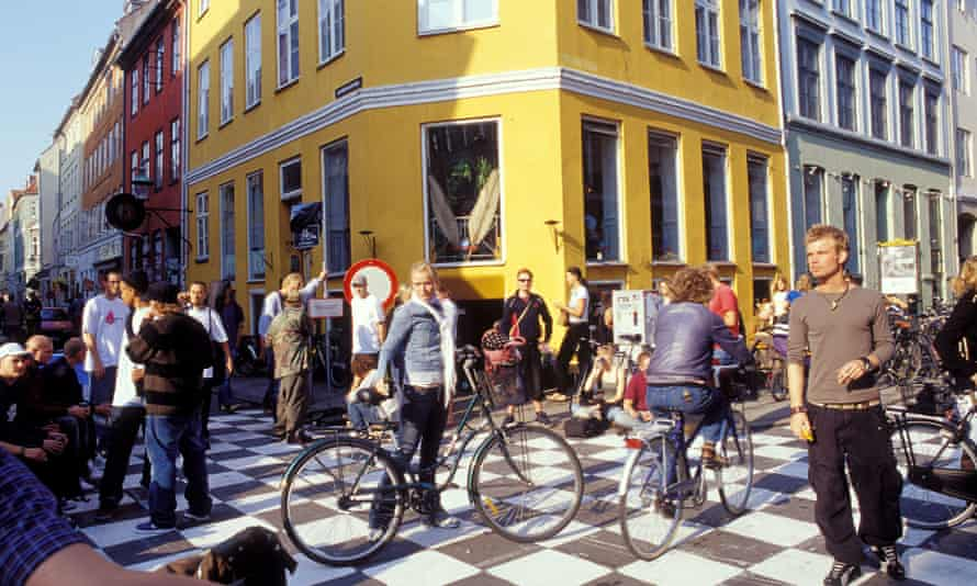 Cyclists and pedestrians in the Latin Quarter of central Copenhagen.