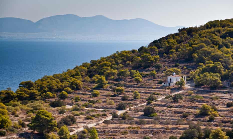 The hillside village of Vagia on Aegina, Greece