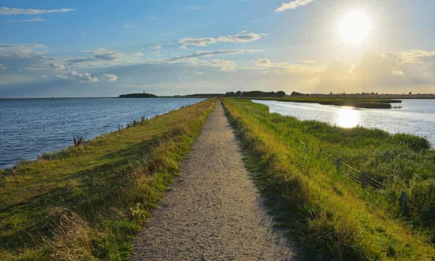 Dike Path, Sulsdorfer Wiek with Sun, Summer, Orth, Baltic Island of Fehmarn, Germany