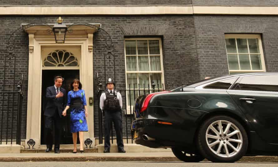 British Prime Minister David Cameron and his wife Samantha Cameron leave Downing Street on May 8, 2015 in London, England. After the United Kingdom went to the polls yesterday the Conservative party are confirmed as the winners of a closely fought general election, which has returned David Cameron as Prime Minister with a slender majority for his party.