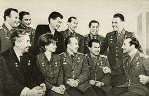 A group of the early cosmonauts. From left to right, standing: Yuri Gagarin, VF Bikovsky, BB Yagorov, Pavel Belyaev, PR Popovich, and Vladimir Komarov. Seated, left to right: KP Feoktistov, Valentina Nikolaeva-Tereshkova, Alexei Leonov, Andrian Nikolayev, and GC Titov.
