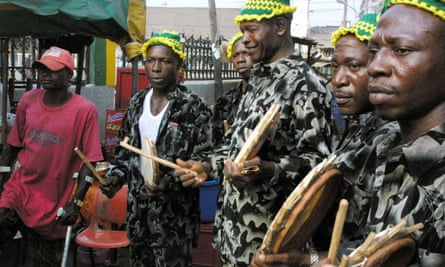 Drummers of the Brazilian Campos Carretta Carnival Association in Lagos