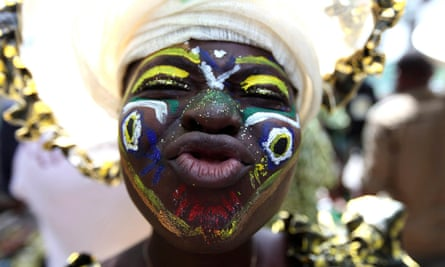 A reveller at the Lagos carnival in 2010.