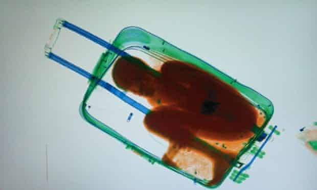 An X-ray image of an 8-year-old boy hidden in a suitcase at border of Morocco and the Spanish enclave of Cueta