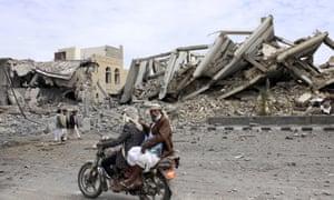 The site of an air strike by Saudi planes in Saada, south Yemen