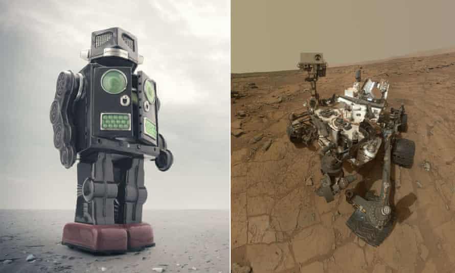 A walking Mars man robot v the Mars Rover.