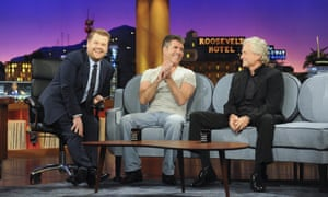 James Corden on the couch with Simon Cowell and Michael Douglas.