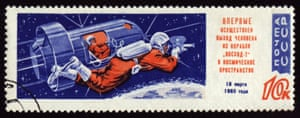 A commemorative USSR postage stamp shows Leonov on the historic space walk.