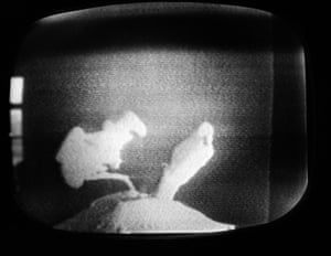 The first televised picture of the space walk, broadcast on Soviet television on 18 March, 1965.