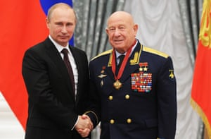 In July 2014, Leonov, aged 80, met Russian president Vladimir Putin during an awarding ceremony in the Kremlin.