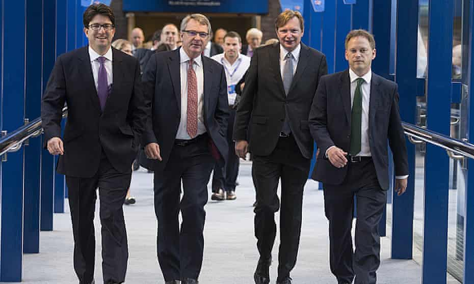 Lynton Crosby, seen here at the party's annual conference last year with, from left, Lord Feldman, Jim Messina (a former Obama campaign chief also hired by the Tories) and party chairman Grant Shapps, was criticised for the 'narrow focus' of the campaign.