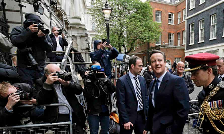 David Cameron on the way to VE day ceremony 8 May