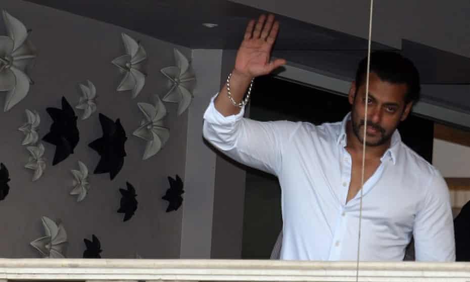 Salman Khan on the balcony of his Mumbai flat, 8 May 2015.