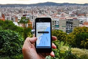 Uber in use in Barcelona, Spain.