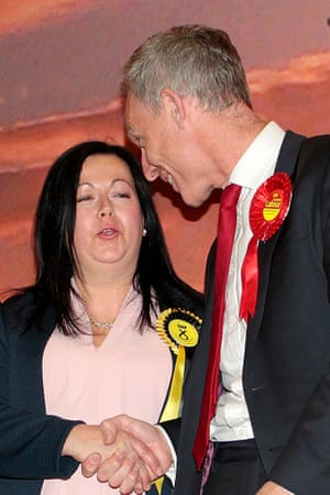 Scottish Labour leader Jim Murphy congratulates the new MP for East Renfrewshire, the SNP's Kirsten Oswald