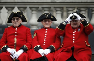 Chelsea pensioners attend a VE Day service of remembrance at the Cenotaph on Whitehall