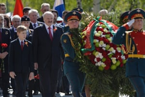 The Belarussian president, Alexander Lukashenko, and his son Nikolai attend a wreath-laying ceremony at the tomb of the Unknown Warrior in Moscow