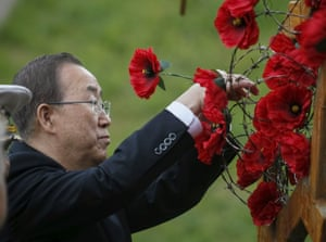 United Nations Secretary General Ban Ki-moon places red poppies at the Museum of Great Patriotic War in Kiev, Ukraine