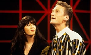 Josie Lawrence and Greg Proops in a Channel 4 episode of the comedy Whose Line is it Anyway.