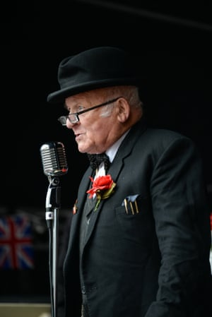 An actor reads Winston Churchill's speech after the two-minute silence at the 70th anniversary of VE Day in Birmingham