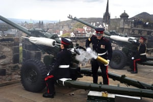 Scottish Gunners from the 105th Regiment Royal Artillery fire two rounds from Edinburgh Castle to mark the beginning and end of the two-minute VE silence