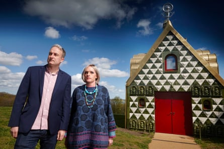 'We were concerned that it wasn't pure fairytale': Charles Holland of architects FAT with Grayson Perry as Julie outside A House for Essex.