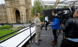 Simon Hughes talks to the press.