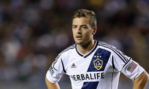 Robbie Rogers in the colours of the Los Angeles Galaxy during a match against the Seattle Sounders