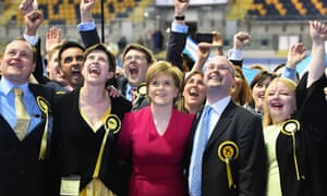 The success of Nicola Sturgeon, centre, and the SNP is the transformative, historic event of the 2015 election.