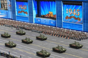 Russian BMD-4M Sadovnitsa infantry fighting vehicles drive during the Victory Day parade at Red Square
