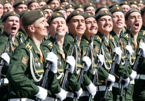 Russian servicemen at the Victory Day military parade