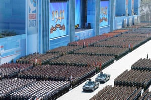 Sergei Shoigu, the Russian defence minister, reviews troops during the Victory Day parade