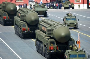 Russian RS-24 Yars/SS-27 Mod 2 solid-propellant intercontinental ballistic missiles are paraded