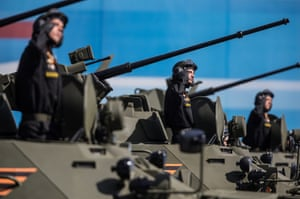 Military personnel showcase new military hardware