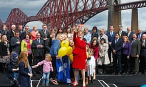 Nicola Sturgeon with her 56 newly elected members of parliament.