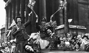 1945's VE Day celebrations in Trafalgar Square, London.