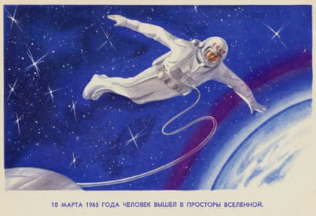 An artist's rendering of the first space walk by  cosmonaut