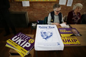 Tea towels featuring Herman Van Rompuy, president of the European Council, on sale at a Ukip election meeting in Ramsgate, Kent, in the South Thanet constituency.