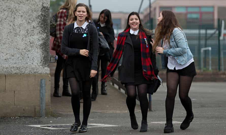 School pupils leaving a polling station after voting in the Scottish referendum