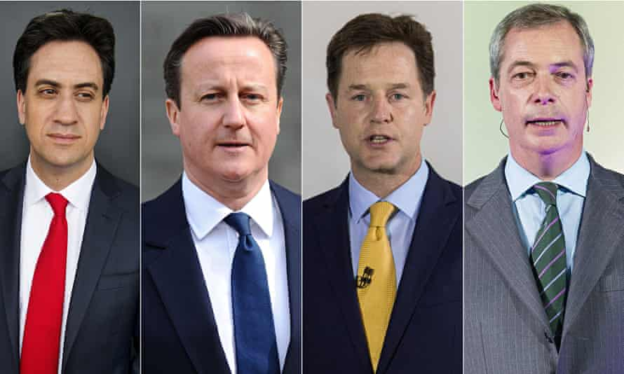 Ed Miliband, David Cameron, Nick Clegg and Nigel Farage. Photograph: Linda Nylind and Rex/Shuttrstock