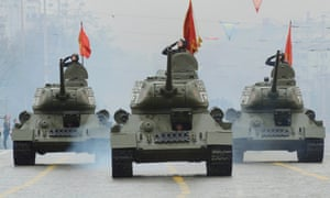 Second world war T-34 tanks during the Victory Day parade Yekaterinburg