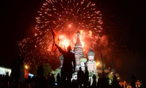 Fireworks explode above Red Square