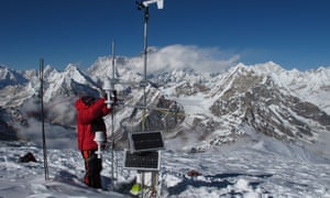 Scientists monitors the shrinking Mera glacier in Nepal