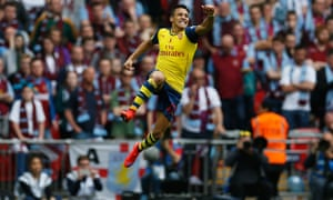 FA Cup final: Alexis Sanchez of Arsenal celebrates after scoring their second goal