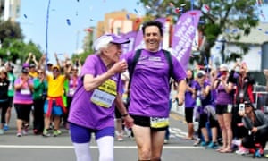 Harriette Thompson finishes the San Diego Marathon on May 31, 2015 in California