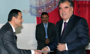 Tajik President Emomali Rahmon casting his vote at a polling station during the presidential elections, in Dushanbe, Tajikistan 2013.